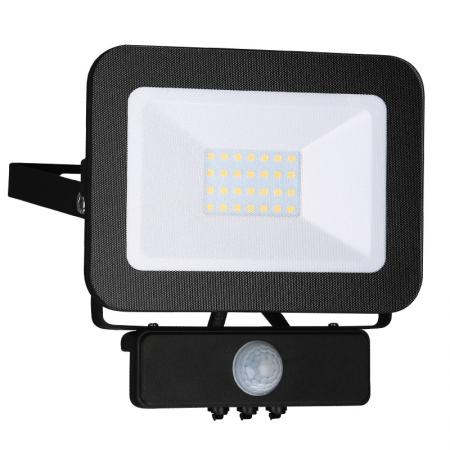 LED HQ reflektor 20W+PIR IP65 senzor/4000K/BK/PS - LF2022S