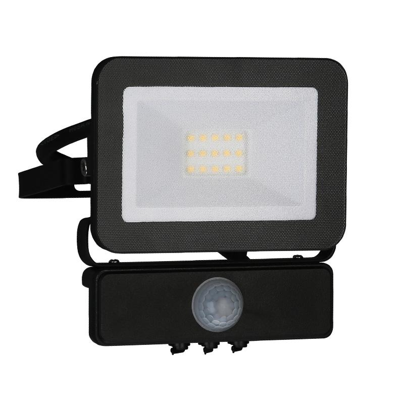 LED HQ reflektor 10W+PIR IP65 senzor/4000K/BK/PS - LF2021S